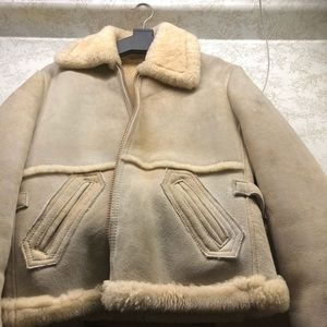 Jackets & Blazers - Cream Suede Shearling coat.
